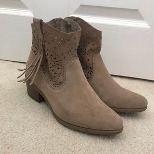 AE Faux Suede Booties with Fringe